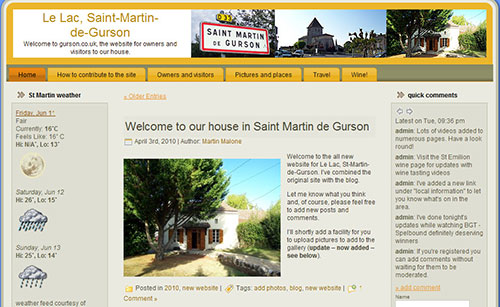 the website for owners and visitors to our house in France